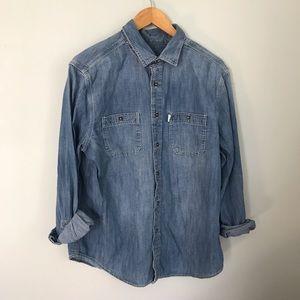 Toms denim button down shirt size large